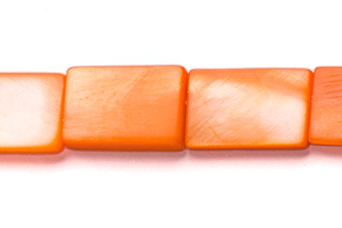 - Orange Mother-Of-Pearl Flat Rectangle Shell Beads Size:15x10mm