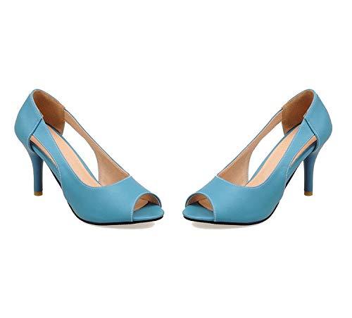 Women Pumps peep Toe Shoes Solid Shallow Summer Shoes Big Size 34-43 Shoes Woman,Blue,8