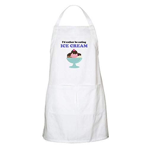 (CafePress Id Rather Be Eating Ice Cream Apron Kitchen Apron with Pockets, Grilling Apron, Baking Apron )