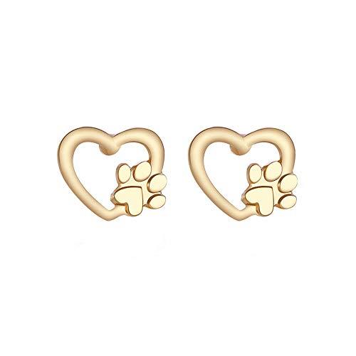 Keliay Minimalist Design Cute Silver Gold Bear Stud Earring Cat Dog Paw Claw Earrings For Women Animal