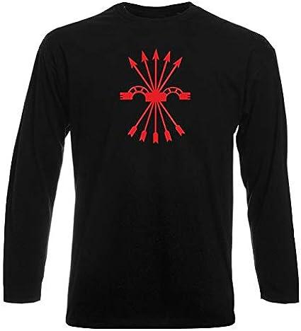 T-Shirt por los Hombre Manga Larga Negra TM0289 falange Spagna: Amazon.es: Ropa y accesorios