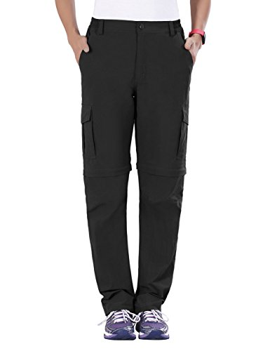 Nonwe Women's Convertible Cargo Pants Breathable Black L/30 Inseam (Cargo Women Pants Convertible)