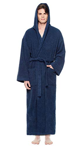 Hooded Terry Cloth Robe - Arus Men's Hooded Classic Bathrobe Turkish Cotton Robe with Full Length Options (L/XL,N.Blue)