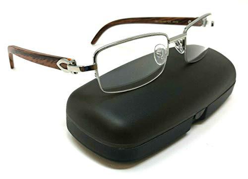 (Debonair Slim Half Rim Rectangular Metal & Wood Eyeglasses/Clear Lens Sunglasses - Frames (Silver & Cherry Wood w/Case, Clear))
