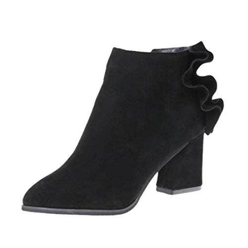TPulling Herbst Winter Schuhe Mode Stylische Spitz Matt Lotus Blatt Stiefel Stiefeletten Schwarz