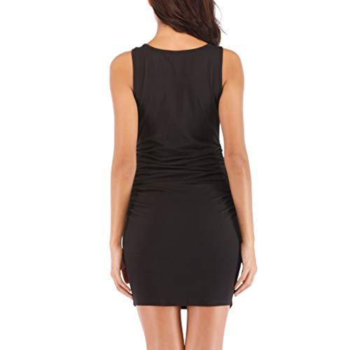 c43e583164a Kalinyer Women s Sexy Ruched Bodycon Dress Casual Solid Sleeveless Round  Neck Knee Length Tank Mini Party