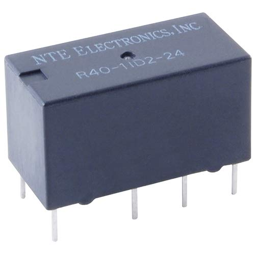 NTE Electronics R40-11D2-12 Series R40 Sensitive Coil Single Contact PC Board Mount Epoxy Sealed Relay, DPDT, 2 Amp, 12VDC