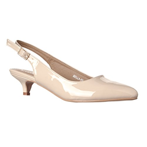 Riverberry Women's Bella Pointed Toe Sling Back Low-Height Pump Heels, Nude Patent, 7 ()