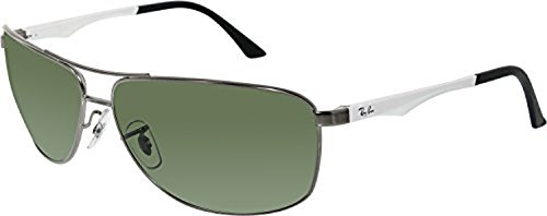 Ray-Ban RB3506 Sunglasses Matte Gunmetal / Polar Green 64mm & Cleaning Kit - Used Ban Ray