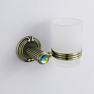 Antique estilo antiguo colorido cristal decorado bronce acabado latón sola taza cepillo de dientes soporte rack: Amazon.es: Hogar