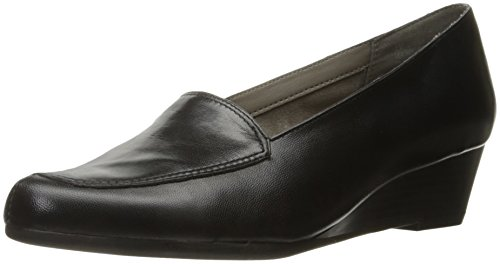 Aerosoles Women's Lovely Slip-On Loafer, Black Leather, 9.5 M (Leather Casual Low Black Shoe)