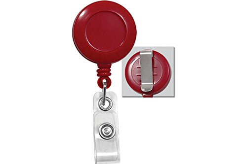Red Badge Reel w/ Clear Vinyl Strap & Belt Clip (25/Pkg)