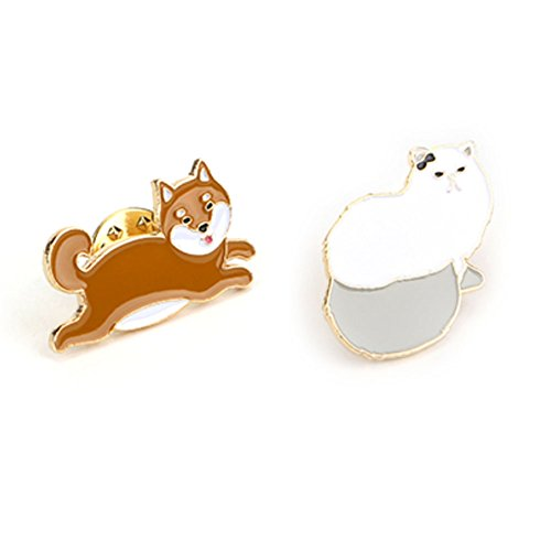 Cute Metal Brooch Pins Lapel Pins Badge for Women Girls for Clothing Bag Decor (Persian Cat& Shiba Inu) - Shiba Inu Cats