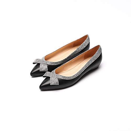 FLYRCX La Primavera y el otoño Solo Calzan la Boca Baja de Las señoras los Zapatos Planos de Cuero Ocasionales de la Parte Inferior Suave señalan los Zapatos de Trabajo A