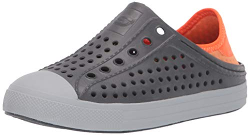 Skechers Kids Boys' Guzman Stepz Sneaker, Charcoal/Orange, 12 Medium US Little Kid (Shoes Kids Skecher Boys)