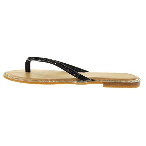 Angkorly - Scarpe da Moda sandali infradito donna strass lucide Tacco a blocco 1 CM - Nero
