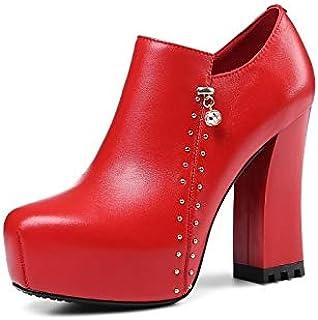 ZHZNVX Scarpe da Donna Nappa in Pelle Autunno & Inverno Comfort Stivali Tacco Grosso Nero/Rosso