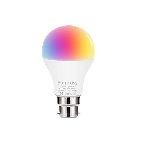 Bomcosy WIFI Smart Lampen 1 stuk – B22-7W – Dimbaar Smart Lamp – Kleur Licht 2700-6500K – LED RGB-lamp – Voice/App…