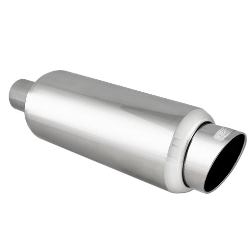 DC Sport EX-5016 Stainless Steel Round Muffler and Slant Cut Exhaust Tip