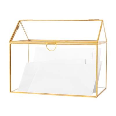 Cathy's Concepts Terrarium Gift Card Holder - Gold, Glass & Brass Construction, Perfect for Wedding Receptions, Graduations & More -