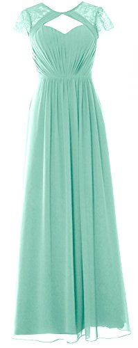 Sleeves Elegant Formal MACloth Long 2018 Cap Evening Dress Bridesmaid Gown Aqua pE1nWn