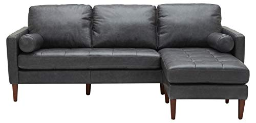 Rivet Aiden Mid-Century Leather Sectional with Tapered Wood Legs, 86 W, Black