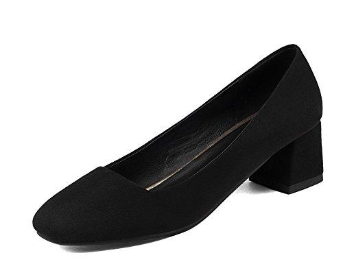 AgooLar Damen Quadratisch Zehe Ziehen auf PU Rein Mittler Absatz Pumps Schuhe, Gelb, 40