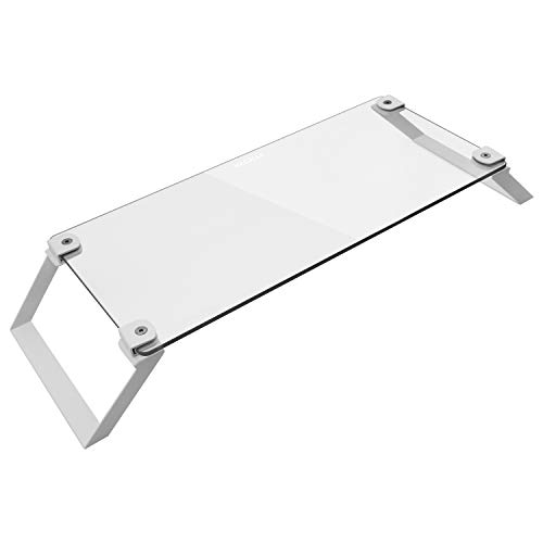 Macally Clear Computer Monitor Riser Stand [Tempered Glass], Desktop Screen Holder for TV Display & Laptop with Desk Shelf Storage Space for Keyboard - Sturdy Metal Frame Lifter & No Slip Pads - White