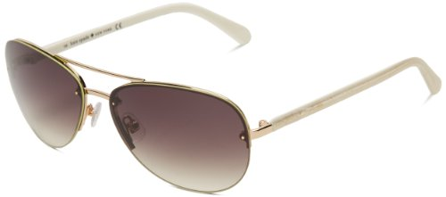 Kate Spade Women's Beryls Aviator Sunglasses,Rose Gold ivory temples,59 - Kate Spade Glasses Gold