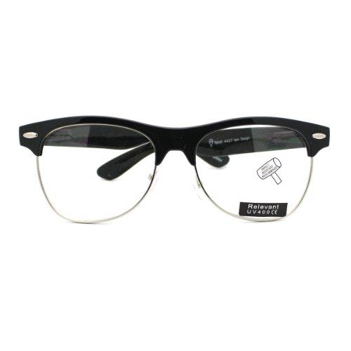 Malcolm Half Rim Clubmaster Wayfarer Clear Lens Fashion Eye - Sunglasses Malcolm X