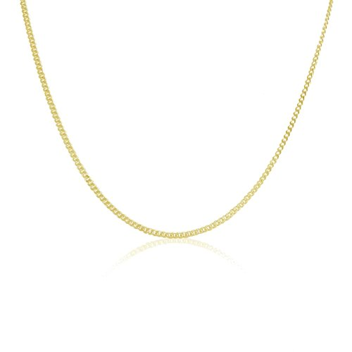 Gold 14k Chain Curb (14K Gold 1.1MM Thin Curb/Cuban Chain Necklace- Available in Yellow, White or Rose-16