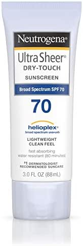 Neutrogena Ultra Sheer Dry-Touch Water Resistant and Non-Greasy Sunscreen Lotion with Broad Spectrum SPF 70, 3 Fl Oz (Pack of 1)