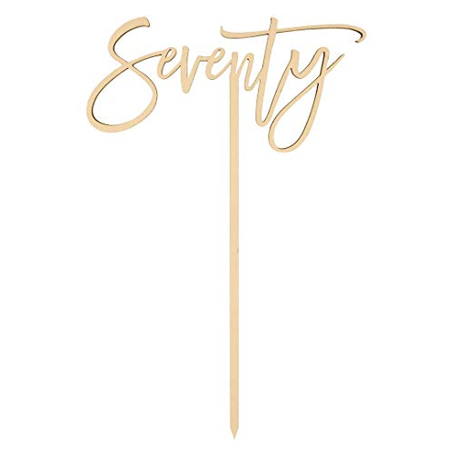 Andaz Press Seventy Scripted Cake Topper, Anniversary Rustic Chic Wood Cake Topper for Wedding Anniversary, 70th Birthday Party, Calligraphy Laser Cut Cake Topper Decorations for Cake ()