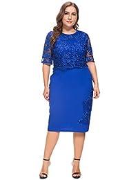 MERRYA Women's Plus Size Vintage Floral Lace Party Business Sheath Pencil Dress