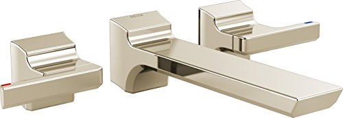 Delta Faucet T3599LF-PNWL Pivotal Two Handle Wall Mount Lavatory Faucet Trim, Polished Nickel (Lavatory Wall Mount Nickel)