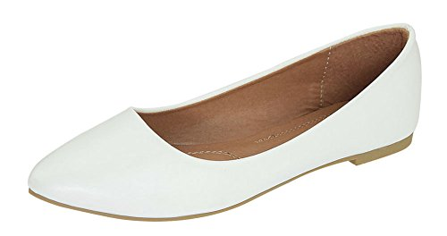 White PU Pointy Angie on Bella 52 Toe Flats Classic Ballet Slip Marie Women's BHcfyTfO87
