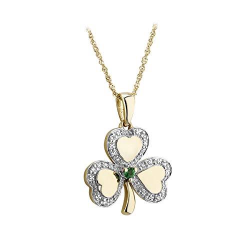 Solvar 14K White-Yellow Gold Diamond & Emerald Shamrock Pendant ()