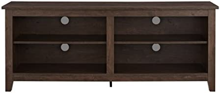 "ba9c132780d61 WE Furniture 58"" Wood TV Media Stand Storage Console - Traditional  Brown. Loading Images."
