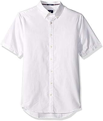 46d20e465 GANT Men's The Fitted Oxford Short Sleeved Shirt, White, S: Amazon ...