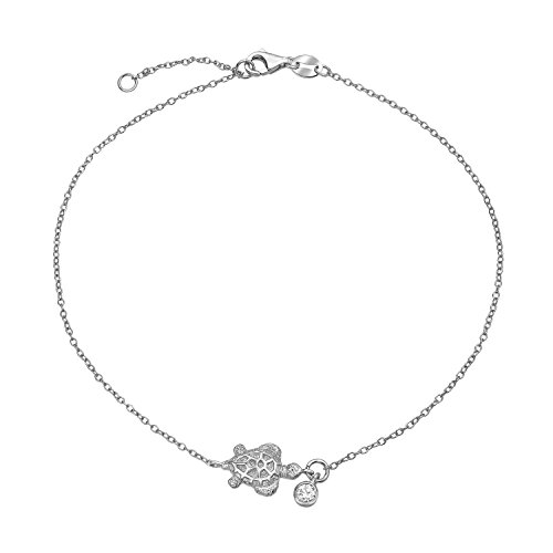 Bling Jewelry 925 Silver Bezel Set CZ Charm Nautical Turtle Anklet 9in