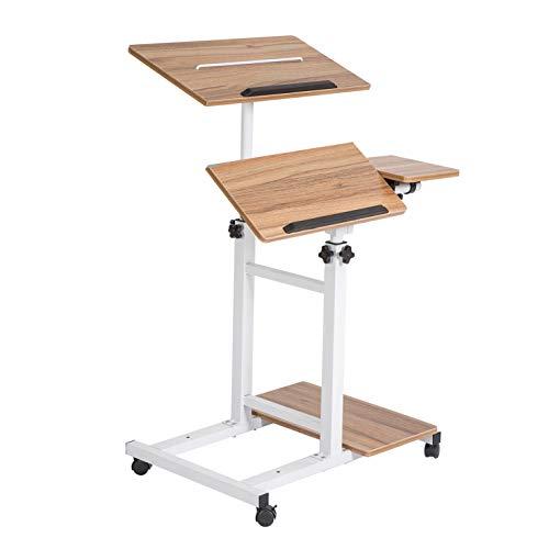 SDADI Mobil Standing Desk Sofa Desk Overbed Table 3 in 1 Multifunctional Desk with Monitor Lock&PC Case Shelf, Dark Grain S092WFDT