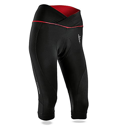 - SILVINI Women's Mountain Bike 3/4 Shorts in Tinella Black-Red for Cycling and All Other Outdoor Activities - Size XL