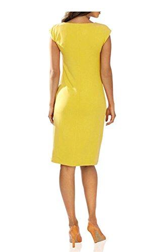 Designer-robe-robe en jersey jaune avec strass