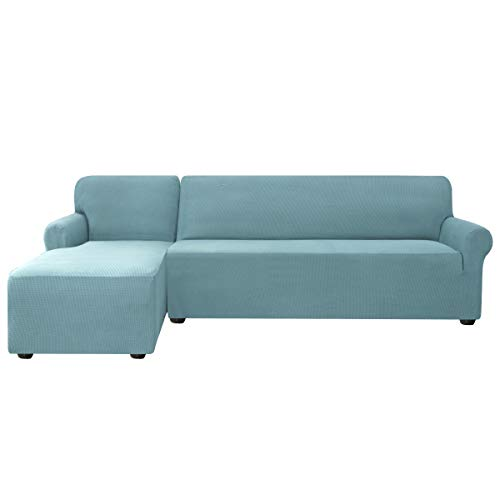subrtex Funda Sofa Chaise Longue Brazo Izquierdo Elastica Protector para Sofa Chaise Longue Antimanchas Ajustable (Azul Claro)