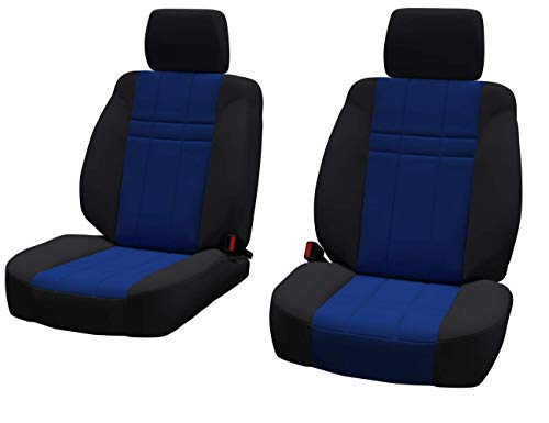 Front Seats: ShearComfort Custom Neoprene-Style Seat Covers for Hummer H2 (2003-2007) in Black w/Blue for Buckets w/Seatbelt in Backrest and Inner Arms and Adjustable ()