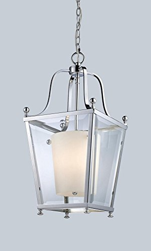 Z-Lite 178-3 Ashbury 3 Light Pendant, Metal Frame, Chrome Finish and Clear Beveled Outside Glass and Matte Opal Inside Glass Shade of Glass Material by Z-Lite - Pendant Ashbury