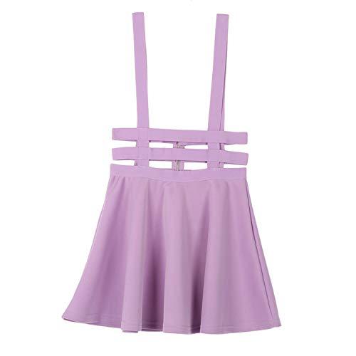 Women Suspender Skirt Mini Retro Girl Ruffles Skater Back Zipper Hollow Out Skirt Faldas Jupe Straps,Purple,One Size