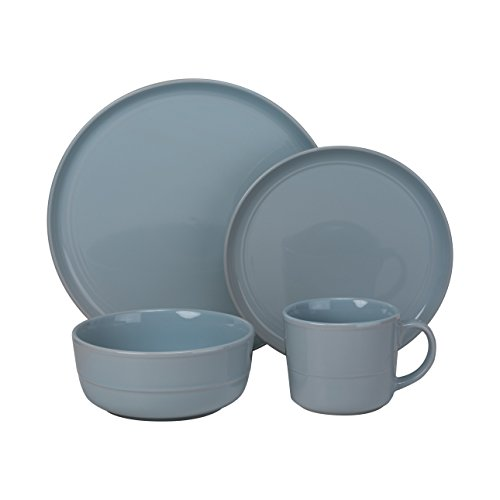 Dinnerware Blue Light - 10 Strawberry Street DBL-1600LTBLU-OS Double Line 16 Piece Dinnerware Set, Light Blue