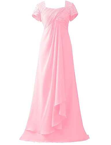 Hochzeit Rosa HUINI Chiffon Pailletten Empire Brautmutterkleider ...