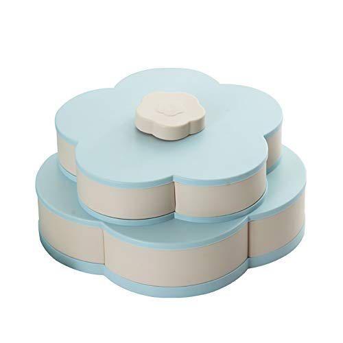 Rotating Snack Box, Double-deck Petal-Shape Candy Box Fruit Storage Organizer, Large Capacity Fruit Plate for Wedding Party Holiday Celebration (Blue)
